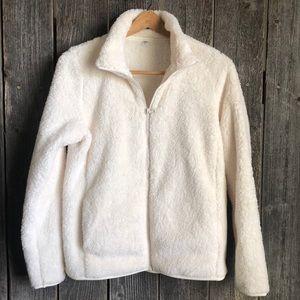 Off white Uniqlo fluffy yarn full zip jacket
